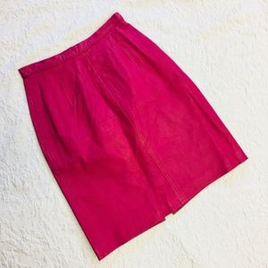 Women Skirt Size 4 Vintage Leather Pencil Pink